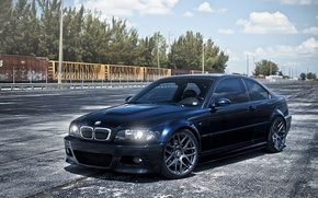 Обои небо, облака, бмв, вагоны, BMW, E46, dark blue, тёмно синий