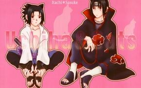 Картинка братья, Naruto, красные глаза, ушки, сидят, fanart, Itachi Uchiha, Sasuke Uchiha, Naruto Shippuden, Наруто Ураганные …