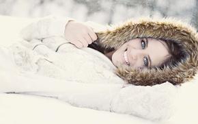 Картинка снег, Улыбка, капюшон, 158