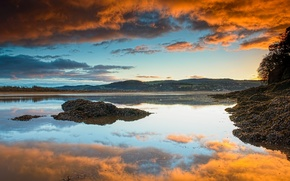 Картинка облака, закат, отражение, Англия, Северный Уэльс, устье реки Конви