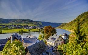 Картинка горы, река, дома, Германия, городок, пейзаж., Beilstein