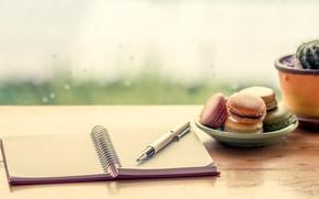 Картинка ручка, блокнот, sweet, dessert, cookies, macaron, макарун, almond