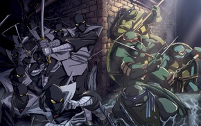 Картинка ниндзя, Teenage Mutant Ninja Turtles, убийцы, Черепашки, канализация, ниндзи