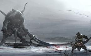 Картинка зима, снег, оружие, кровь, монстр, воин, арт, рога, битва