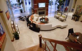Картинка дизайн, стиль, комната, диван, интерьер, сверху, квартира