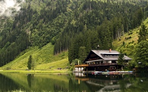 Картинка house, forest, mountains, lake, boats