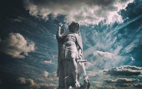 Картинка небо, обои, дракон, меч, wallpaper, статуя, sword, sky, dragon