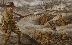 Картинка война, рисунок, легкий, арт, солдаты, пулемет, выстрелы, Browning, Automatic, окопы, Rifle 1