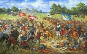 """Картинка масло, картина, холст, 1410 год"""", """"Галицкие хоругви в Грюнвальдской битве, художник Артур Орленов"""