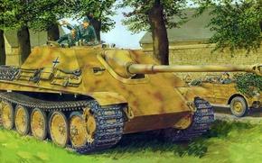 Картинка war, art, painting, tank, ww2, Jagdpanther Sd.Kfz.173 Ausf.G1