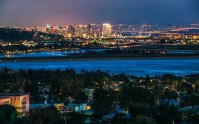 Обои ночь, огни, река, дома, США, мосты, мегаполис, Сан-Диего