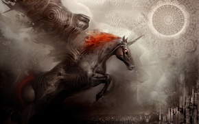 Картинка город, фентези, конь, обои, единорог