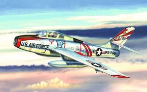 Картинка war, art, painting, aviation, jet, Republic F-84 Thunderjet
