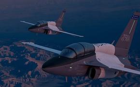 Обои Lockheed Martin, пилоты, кабина, полёт, T-50A, ландшафт, учебно-боевой, вечер, самолёт