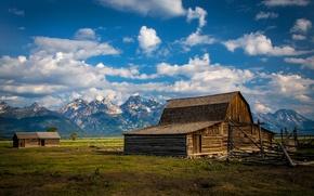 Картинка небо, облака, горы, дом, доски, Долина