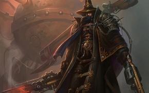 Картинка оружие, механизм, шляпа, воин, шипы, пар, плащ, Стимпанк
