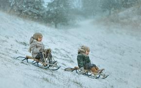 Картинка зима, дети, санки