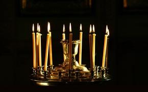 Картинка огонь, пламя, праздник, темно, блеск, свечи, Пасха