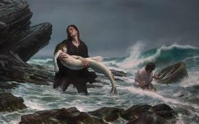 Обои море, шторм, русалка, картина, рыбаки, Donato Giancola