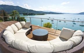 Картинка горы, озеро, отдых, вид, relax, балкон, терраса
