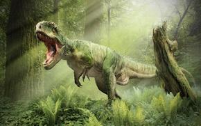 Картинка лес, динозавр, пасть, рык, T-Rex, Тираннозавр