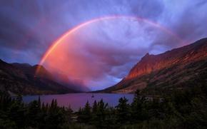 Картинка лес, горы, природа, озеро, река, радуга