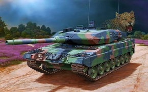 Картинка war, art, painting, tank, Leopard 2A6 Main Battle Tank