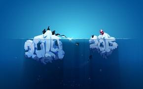 Обои красный дед, айсберг, 2015, новый год, 2014, пингвины