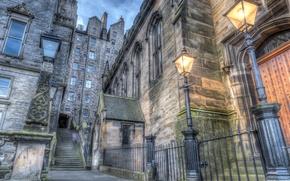 Картинка HDR, Шотландия, фонари, лестница, Scotland, Edinburgh, Houses