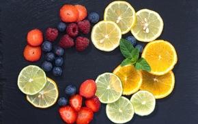 Обои лимон, голубика, цитрусы, ягоды, малина, фрукты, апельсин, клубника, мята