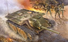 Картинка war, art, painting, ww2, German E10 Tank Destroyer