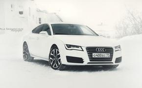 Картинка зима, машина, ауди, audi, белое, audi a7, ауди а7, ауди белая