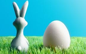 Картинка трава, яйцо, пасхальный кролик