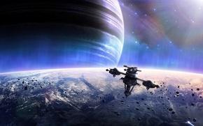 Картинка сияние, корабль, планета, метеориты