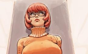 Картинка грудь, девушка, арт, очки, Scooby-Doo, Velma Dinkley, joel27