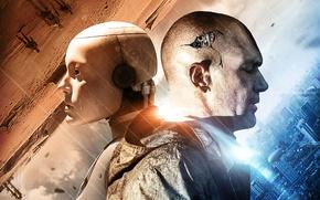 Обои голова, постер, Antonio Banderas, механизм, Антонио Бандерас, шестеренки, Automata, фантастика, трещины, слеза, Страховщик, робот