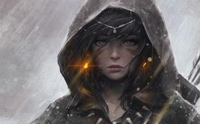 Картинка зима, девушка, снег, аниме, лук, арт, капюшон, стрелы, guweiz, срережки