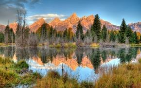 Картинка деревья, пейзаж, горы, озеро, отражение