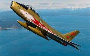 Картинка небо, самолет, Золотой, Golden, Hawks, Sabre, Canadair