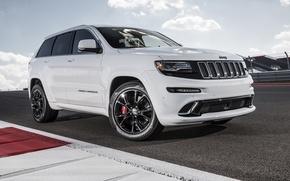 Картинка машина, белый, трасса, джип, white, SRT, Jeep, Grand Cherokee