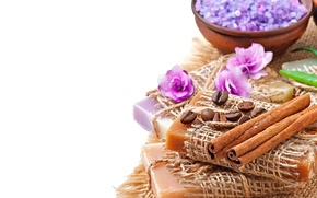 Картинка relax, soap, flowers, coffee, lavender, spa, salt, natural