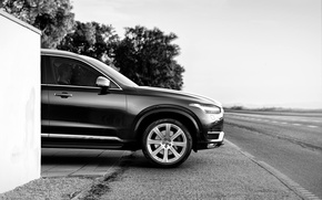 Картинка дорога, фото, чёрно-белое, Volvo, Вольво, XC90