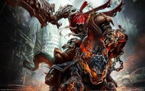Обои конь, меч, демон, Darksiders: Wrath of War, всадник