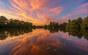 Картинка деревья, закат, озеро, отражение, Германия, Гамбург, Germany, Hamburg, Hohendeicher Lake, озеро Хоэндайхер