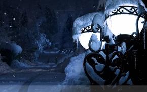 Картинка зима, новый год, фонарь