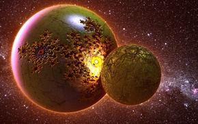 Картинка fire, stars, planet
