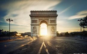 Картинка дорога, город, Франция, Париж, вечер, выдержка, Paris, France, Arc de Triomphe, Триумфальная арка