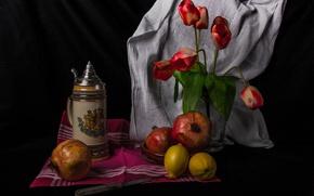 Картинка цветы, лимон, тюльпан, натюрморт, гранат, термос