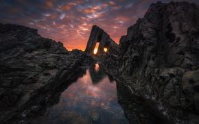 Картинка море, облака, свет, закат, камни, океан, скалы, отверстия, обои от lolita777