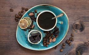 Обои cup, чашка, шоколад, кофе, chocolate, beans, coffee